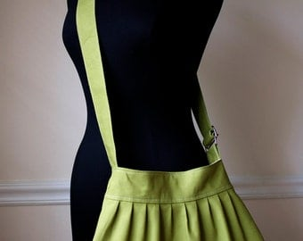 green cross body bag // adjustable strap canvas purse // pleated shoulder bag // pea green // the charlie bag // READY TO SHIP