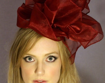 Elegant red organza fascinator CLEARANCE REDUCED 40%