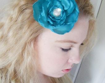 Wedding hair fascinator clip poppy blue green and crystal silk