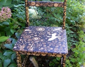 custom small chair-emblazoned with an ooak night forest design-flower-bird-star- leaves- rustic modern hand decorated furniture