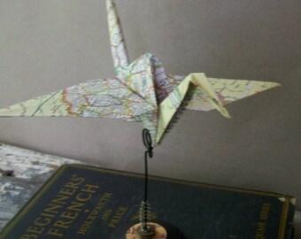 Vintage Map Paper Crane Origami