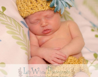 Chunky Golden Hat and Diaper Cover Set- Great Photography Prop