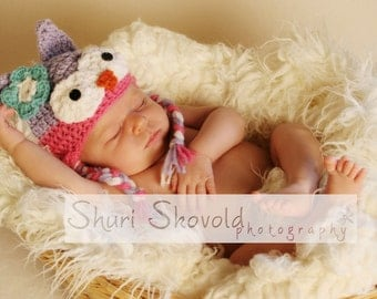 Lavander and Pink Owl Ear Flap Hat