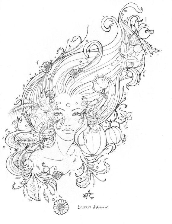 Line Drawing Etsy : L esprit d automne line art original pencil drawing