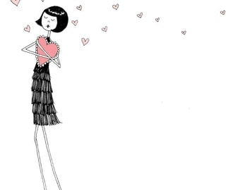 My Funny Valentine // Heart love illustration // art print