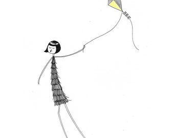 Eloise flies a kite // art print // 1920s flapper flying a kit illustration