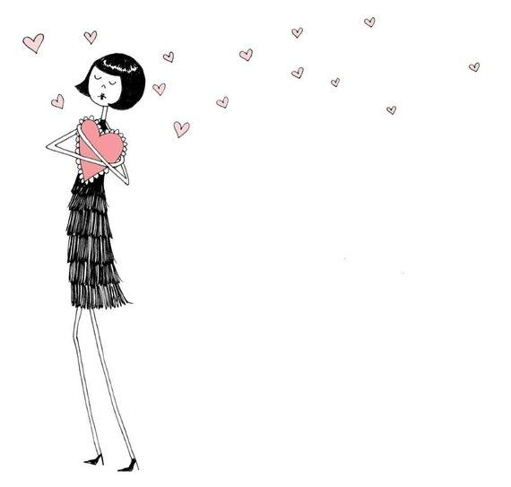 My Funny Valentine // Heart love illustration // art print