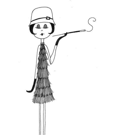 1920s flapper art print ramona wears her new cloche hat