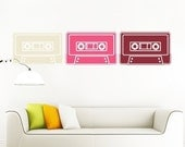 vinyl wall decal art- mix tape wall decal 3-pack sticker, FREE SHIPPING