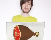 ham laptop decal, meat art, meat laptop sticker, meat lovers, kitsch, FREE SHIPPING