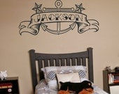 Anchor vinyl wall decal with custom banner tattoo art, anchor sticker art