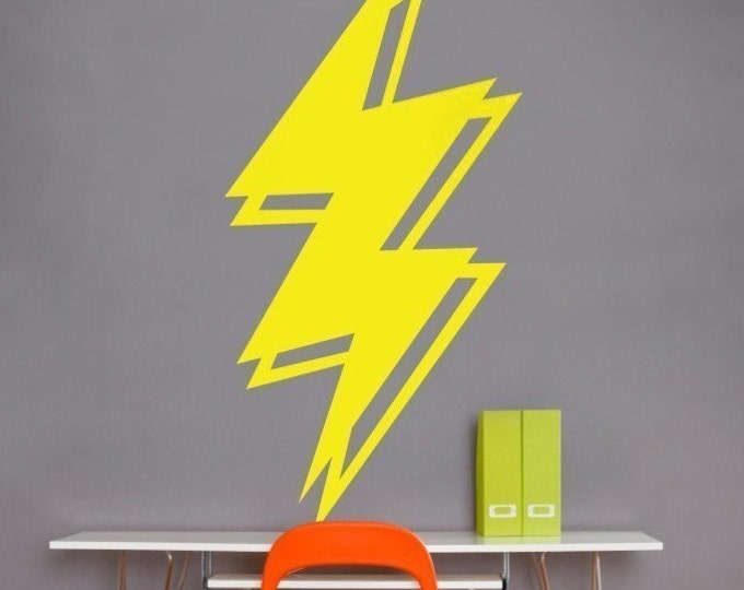 lightning bolt vinyl wall decal, lightning sticker art, thunder art, storm art, FREE SHIPPING