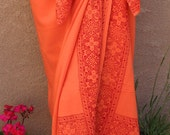 Orange Sarong Wrap Skirt or Dress Red Celtic Cross Border Design Womens Clothing Orange Pareo Swimsuit Coverup Beach Sarong