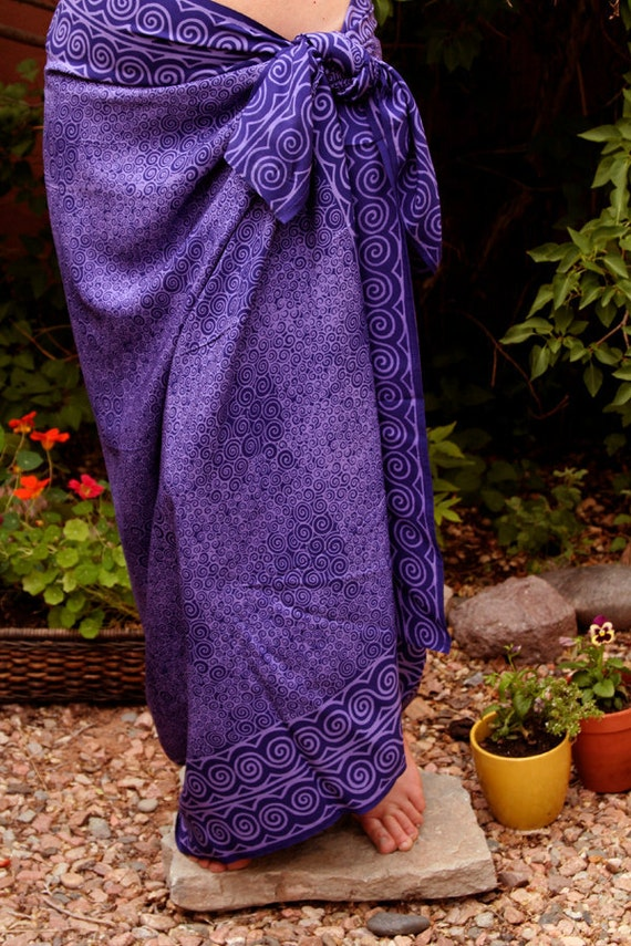 Spiral Purple Sarong Beach Sarong Swimsuit Coverup Batik