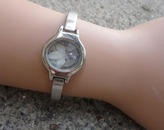 Silver and White Flowers former watch bracelet - 124