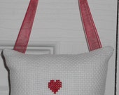 Red Love and Heart Counted Cross Stitch Hanging Pillow