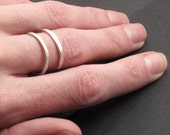 Double Band Ring, Adjustable Size Hammered Bright Matte Finish (Gold or Silver)