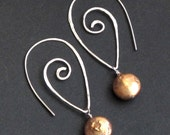 Spiral Earring Hoops with Coin Pearls, Interchangeable dangle earrings in Silver, Gold, or Rose Gold