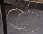 Thin silver hoop earrings - extra large, thin and urban oxidized silver hoop earrings
