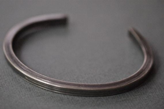 Men's silver cuff bracelet - chunky, industrial and hammered sterling silver cuff bracelet