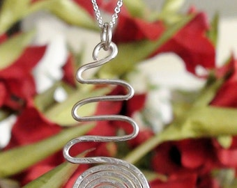 Sterling Silver Hammered Swirl and Wave Pendant Necklace
