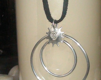 Sunburst Necklace, LEather NEcklace, ?Infin ity Necklace, Circle Jewelry, Rustic Jewelry