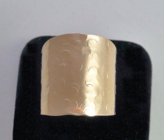 Wide Band Cigar Ring Hammered or Smooth Gold Tone Brass