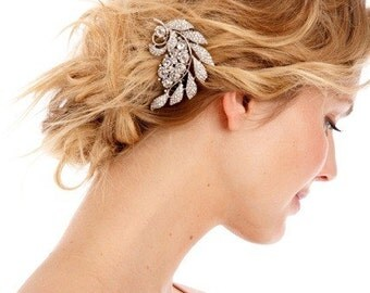 NOELLE Encrusted Leaf Clip - bridal rhinestone comb