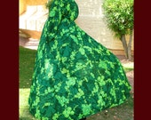 Green May Queen Fairy Witch Ritual Cloak With Extra Long Hood~ From Vintage Fabric~LOTR~Elf
