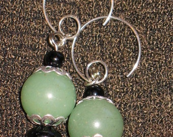 On Sale!~Aventurine and Obsidian Earrings for Pierced Ears