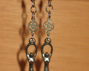 Spiral Goddess and Pentacle earrings for Pierced Ears