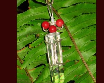 Clear Quartz Crystal Point In Sterling Silver Wire Wrap with Red Fossil Beads~Ritual Jewelry