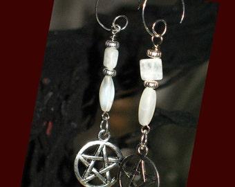 Moonstone and Pentacle Pagan Earrings for Pierced Ears