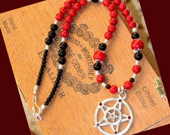 Dark Goddess Black Obsidian and Red Fossil Beaded Necklace with Double PENTACLE Pendant