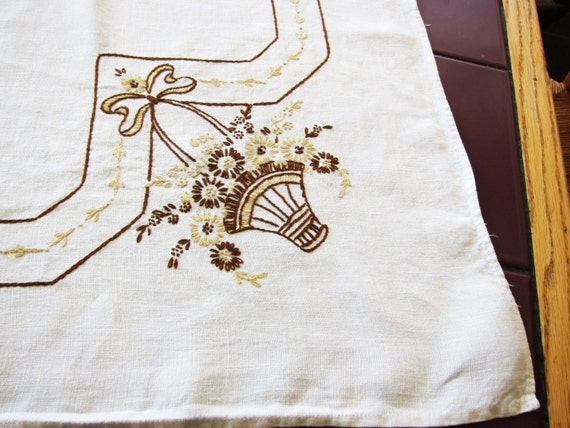 LINEN vintage TABLECLOTH 1940s classic embroidered  baskets brown  YUMMY