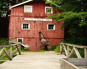 Old Country Cider Mill Photograph, Busti Mill, Chautaqua, New York, Barn Wood, Primitive, Old Building, Brick Red Rustic Home Decor