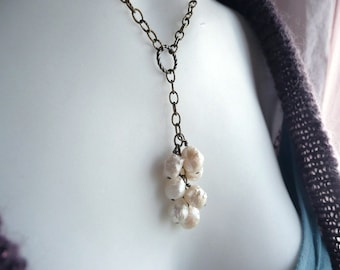 Bridal Wedding Cluster Y Necklace Ivory Cream Freshwater Pearl  - June.