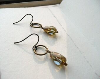 Drop Dangle Earrings Minimalist Beaded Czech Glass Honey and Light Blue  - Morning Dew.