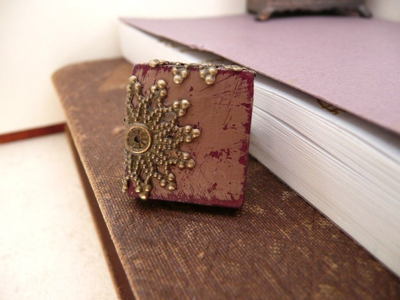 Boho Chic Ring Filigree Adjustable Band Scrabble Tile  - Rococo