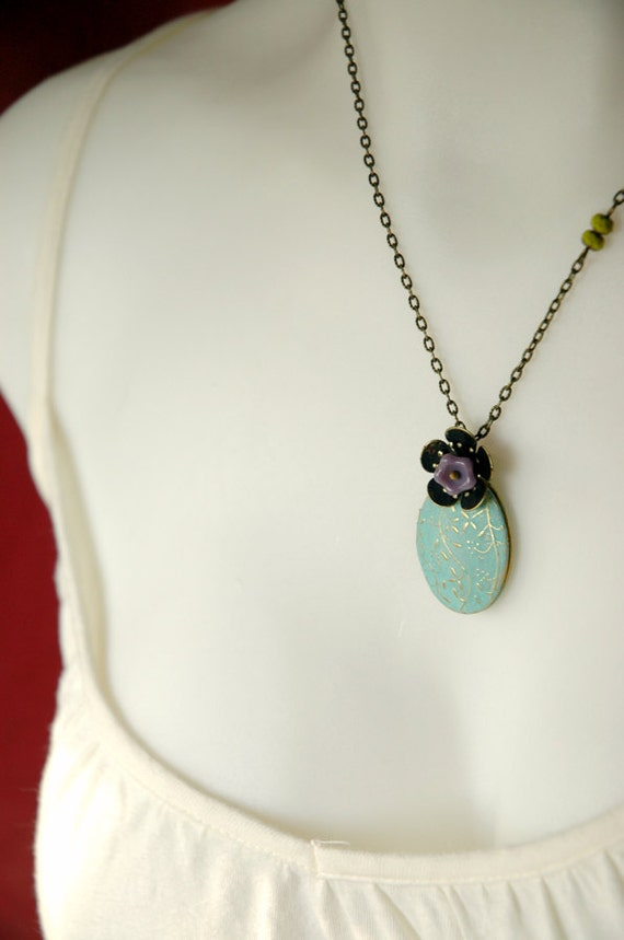 Vintage Inspired Verdigris Locket and Cherry Blossom Necklace  - Lavender Verdigris