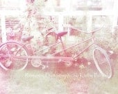 Paris Bicycle Photography, Bicycle For Two Photo, Paris Bicycle Shabby Chic Decor, Paris Shabby Chic Garden Photos, Paris Bicycle Pink Print