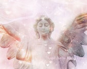 Angel Photography, Dreamy Celestial Angel Prints, Pink Angel Stars Hearts, Guardian Angel Art, Baby Girl Nursery Angel Print, Angel Decor