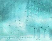 Nature Photography, Dreamy Teal Aqua Turquoise Trees and Birds, Baby Girl Nursery Decor, Fantasy Fairytale Aqua Teal Nature Prints, Aqua Art