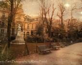 Paris Photography, Romantic Paris Gardens, Paris Parks Parc Monceau, Paris Sepia Architecture Landscape, Paris Fine Art Photography Prints