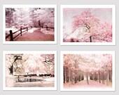 Dreamy Pink Nature Photography, Baby Girl Nursery Decor, Pink Shabby Chic Decor, Nursery Room Pink Wall Art, Pink Nursery Nature Trees Decor