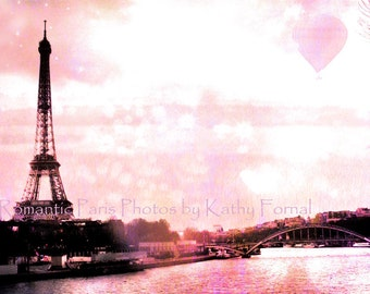 Paris Photography, Pink Eiffel Tower Baby Girl Nursery, Eiffel Tower Hot Air Balloons, Paris Pink and Black Photos, Paris Wall Art Prints