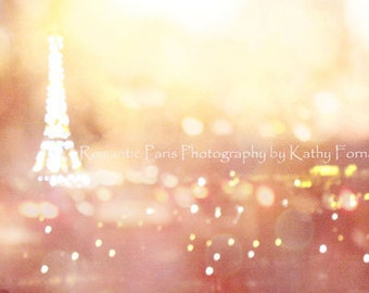 Paris Photography, Eiffel Tower Skyline Night Photo, Paris Eiffel Tower Lights Night Scene, Paris Surreal Bokeh Night Fine Art Photography