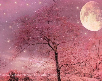 Nature Photography, Fairy Lights Stars Moon Trees, Dreamy Nature, Baby Girl Nursery Decor Fantasy Pink Surreal Nature, Fairytale Nursery Art
