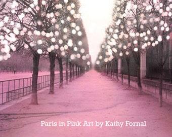 Paris Photography, Tuileries Sparkling Lights Trees, Paris Pink Fairy Lights, Paris Fine Art Photography, Paris Baby Girl Nursery Decor Art
