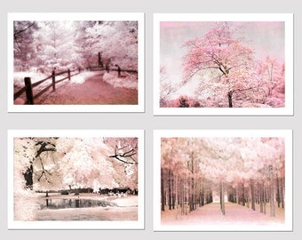 Pink Nature Photography, Baby Girl Nursery Decor, Pink Shabby Chic Nature Decor, Nursery Room Pink Wall Art, Pink Nursery Nature Trees Decor